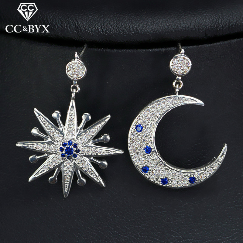 CC earrings for women special fashion star moon shape design pageant wedding accessories bride engagement shine cz jewelry E0100