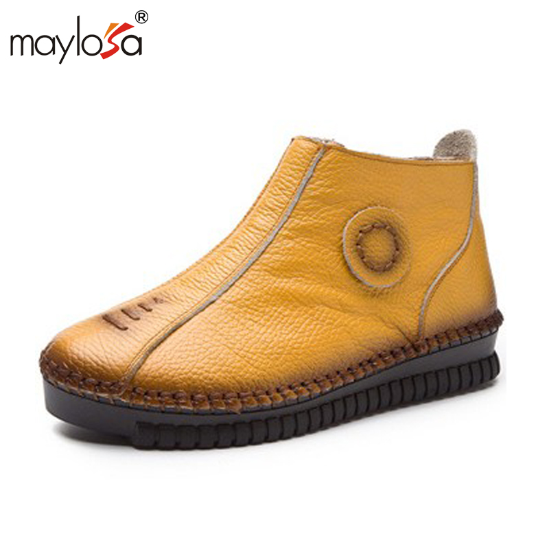 MAYLOSA 2017 Vintage Style Genuine Leather Women Boots Flat Booties Soft Cowhide Women's Shoes Zip Ankle Boots Warm Winter Shoe large size 34 40 2016 fall women ankle boots cowhide soft leather flower genuine leather women short boots flat with shoes lady