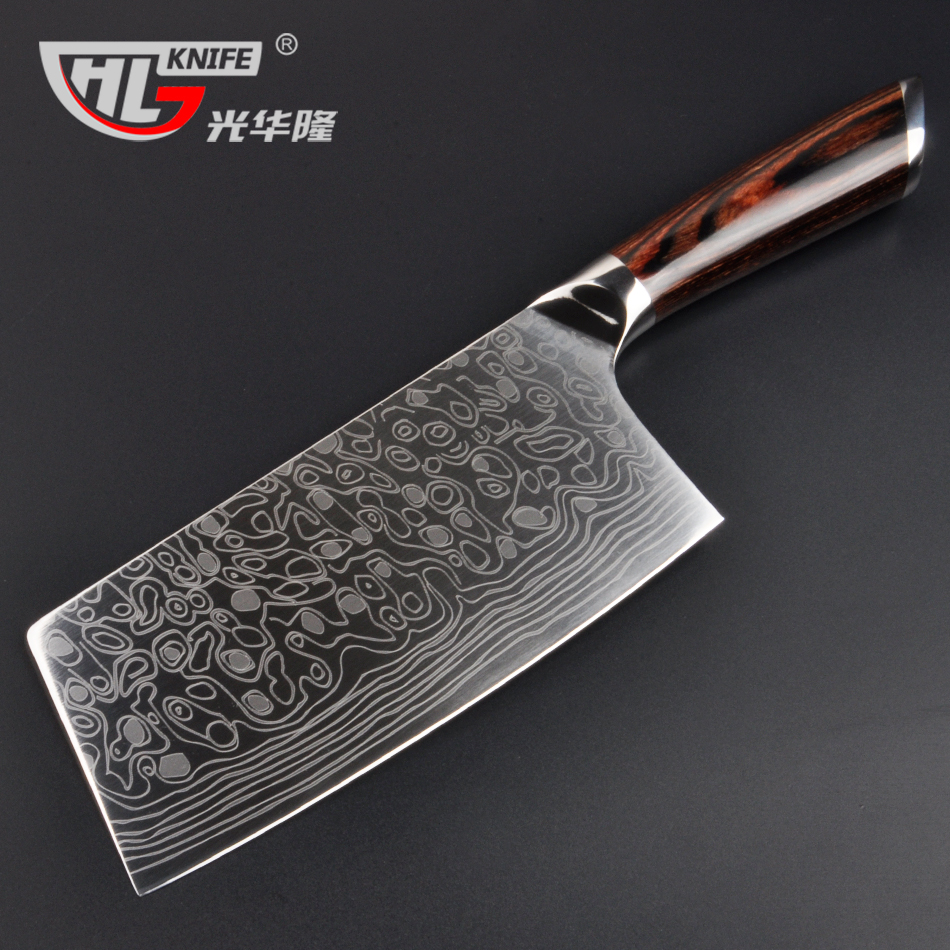 high quality laser damascus pattern kitchen knife imported