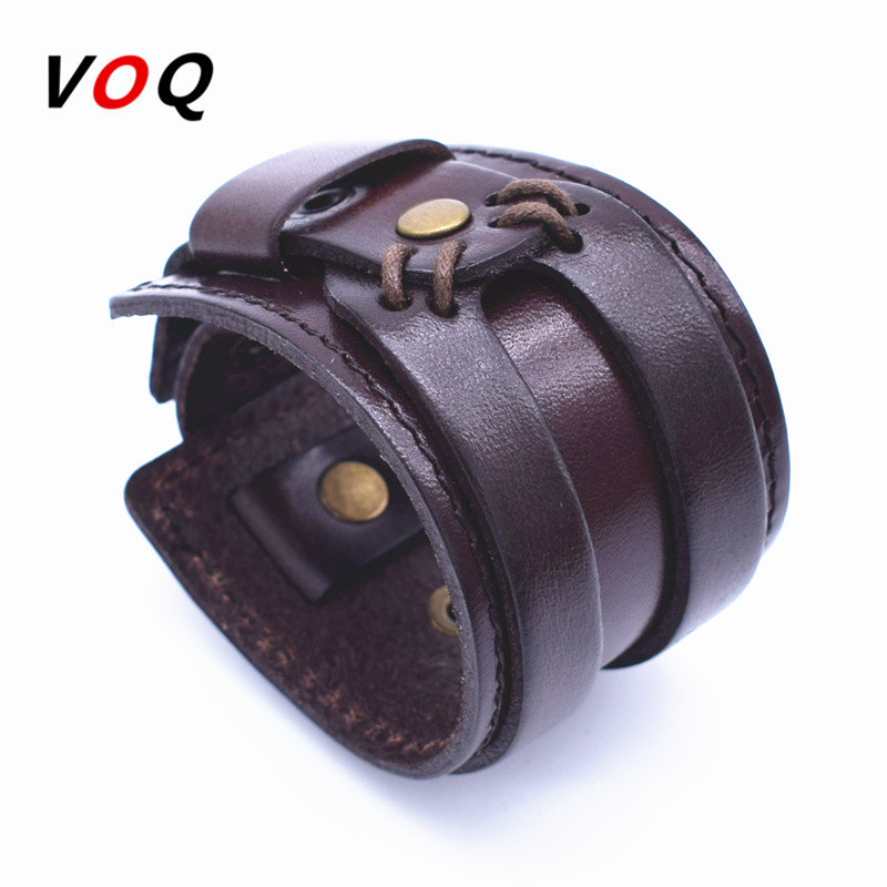 VOQ Leather Cuff Double Wide Armbånd og Rope Bangles Brown for Menn Fashion Menn Armbånd Unisex Smykker