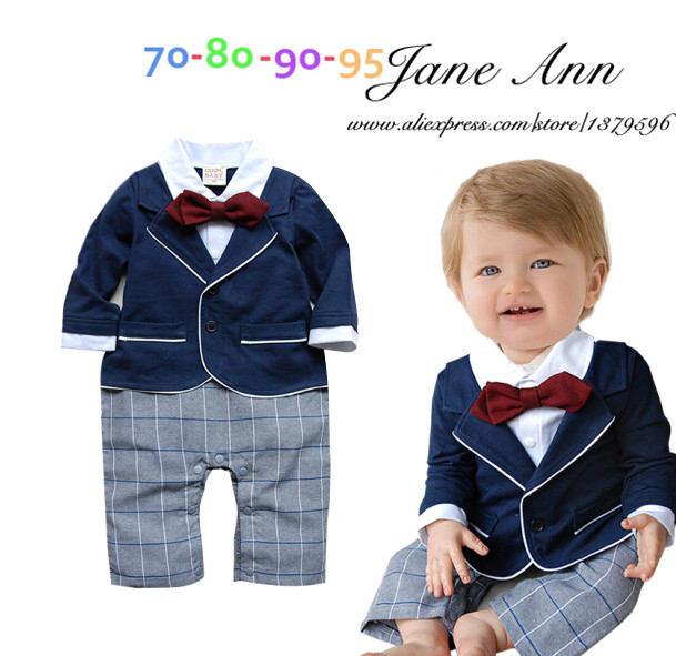 7858f86b0c782 Baby boy gentlemen jumpsuit spring autumn long sleeve red bow tie ...
