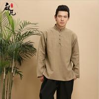 Autumn blouses pure linen ashion high quality casual men's shirt long sleeve men's shirts loose men shirt