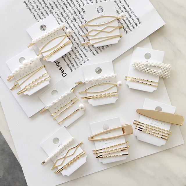 New 1Set Women Girls Cute Pearl Alloy Geometric Gold Color Hair Clips Barrettes Lovely Hairpin Headband Fashion Hair Accessories