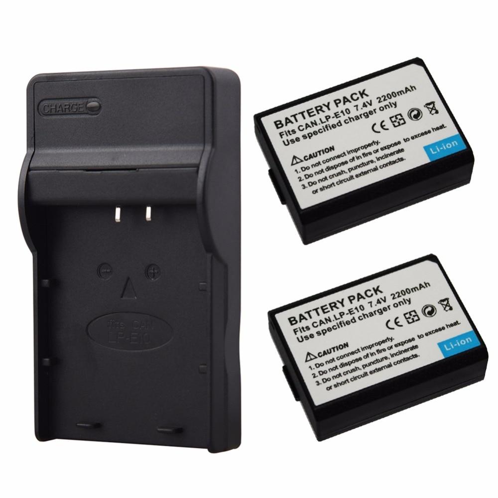 2x 2200mAh LP-E10 LPE10 Digital Battery+Charger for Canon 1100D 1200D 1300D Rebel T3 T5 KISS X50 X70 Camera Replacement Batteria