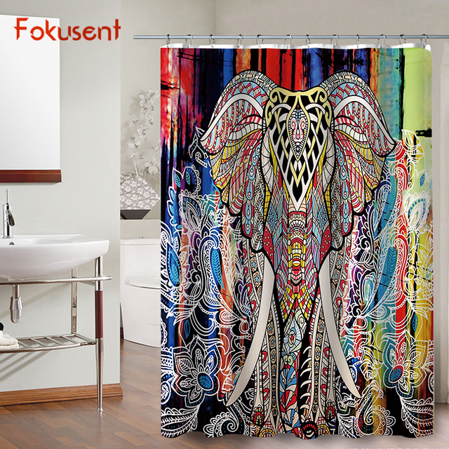 FOKUSENT New Design Print Mandala Colorful Elephant Pattern Figure Factory  Custom Polyester Bathroom Fabric Shower Curtains