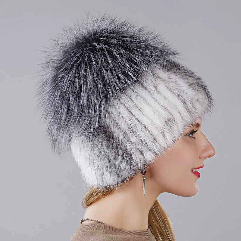 Sıcak Tarzı Kadın Vizon Kürk Kap Kadınlar Için Kış sıcak Şapka Dikey Örme Vizon Kabarık Gümüş Tilki Parça Daha Az üzerinde silindir şapka