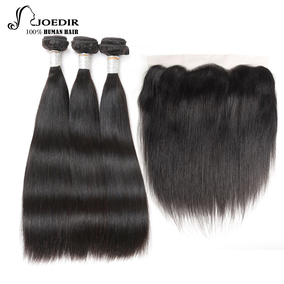 Joedir Bundles With Frontal Brazilian Straight Non Remy Hair 3 Bundles Human Hair Bundles With Frontal Closure Free Shipping