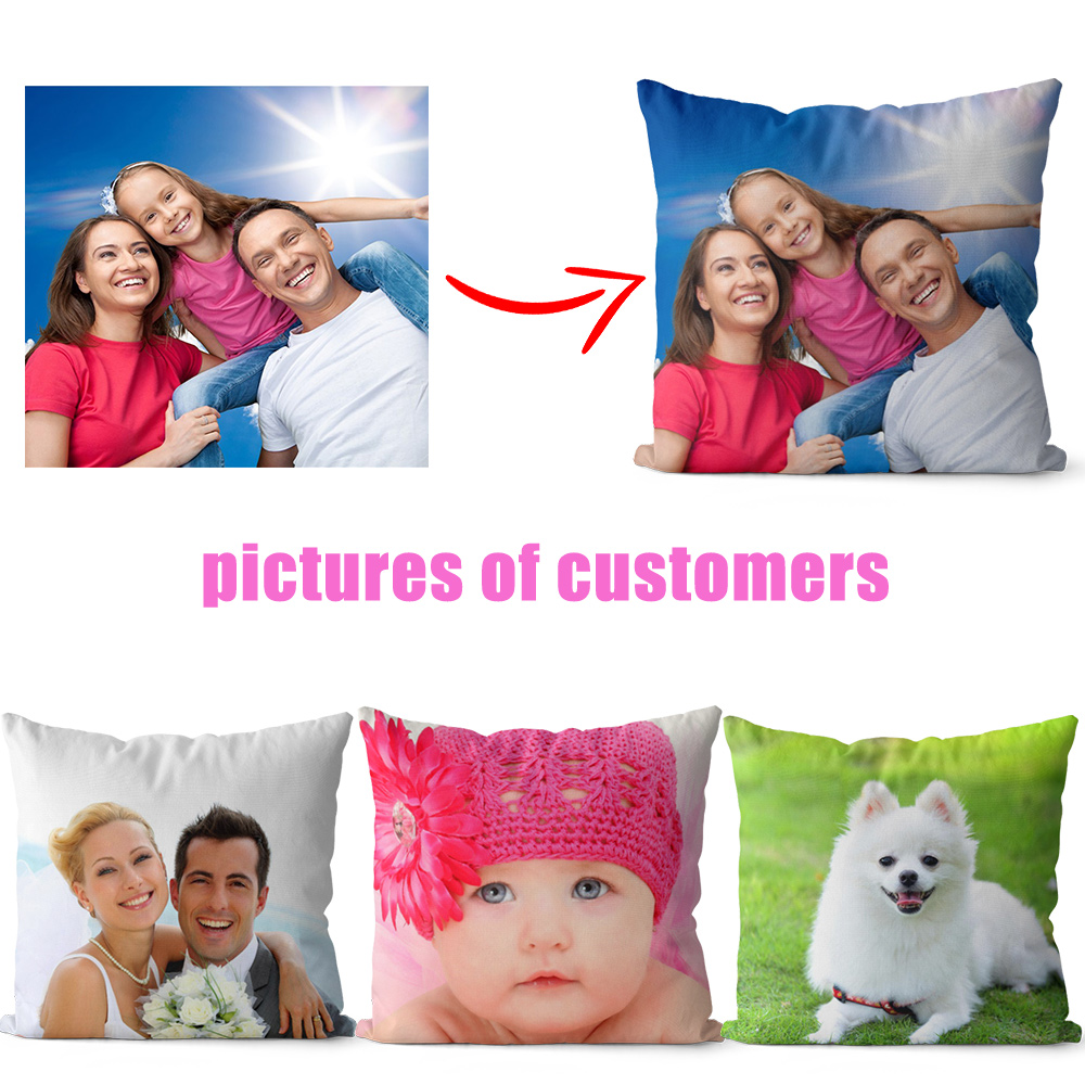Printed Cover Cushions Custom Photo Pillow Personalized Decorative Pillow Covers Pillow Cases Gifts For Women Men Home Decor