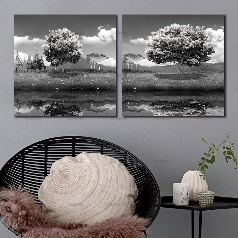 Canvas Prints 2 Panels Black And White Trees