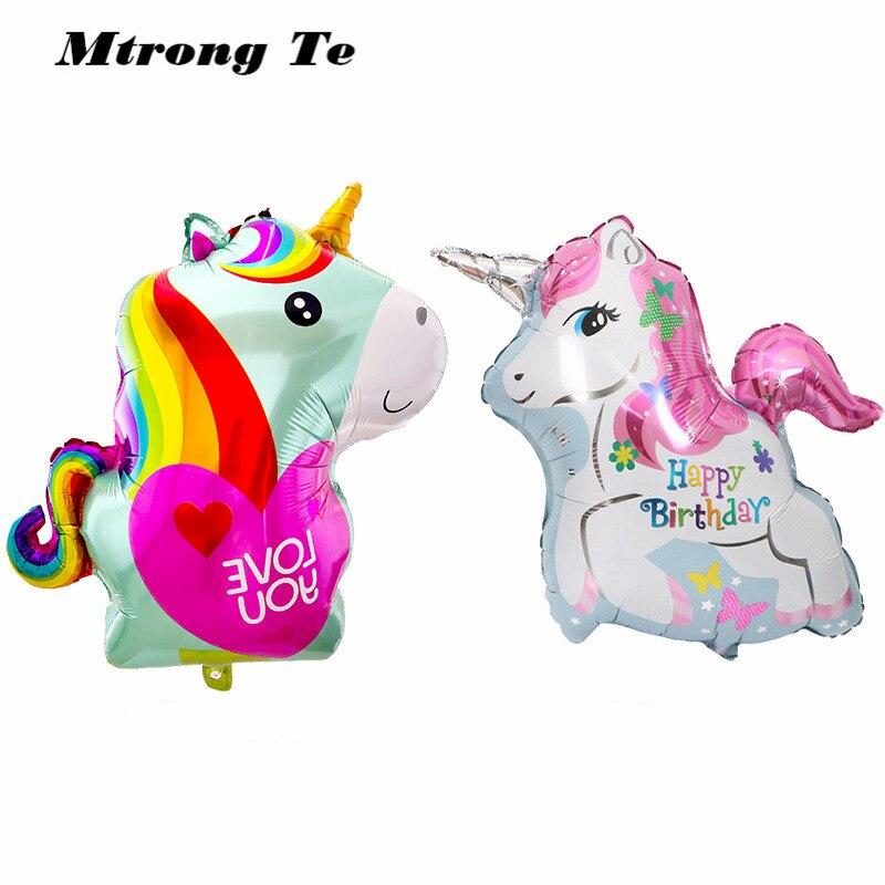 50pcs baby shower birthday party unicorn horse foil balloons decor rainbow love you Wedding Animal Theme