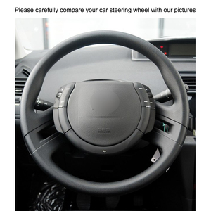 Image 3 - Hand stitched Black PU Artificial Leather Car Steering Wheel Cover for Citroen C4 Picasso 2007 2013
