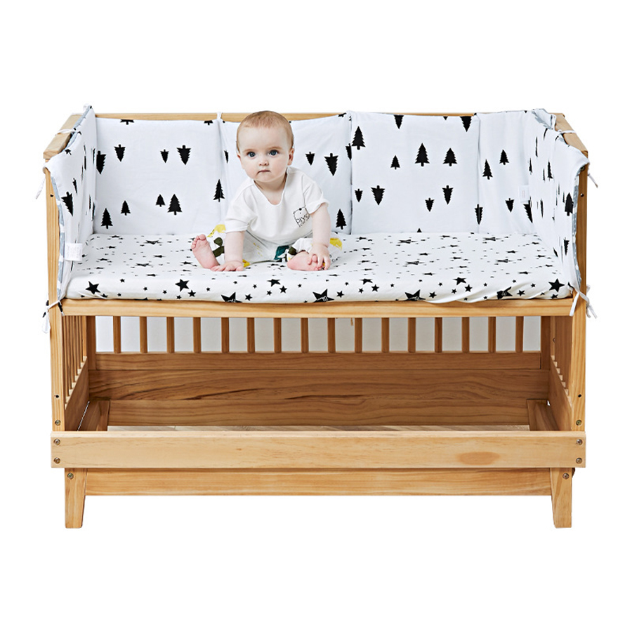 2.5cm Thickness Cartoon Infant Crib Baby Bed Bumper Cot Bumper Protector Cotton Padding Comfortable Infant Crib Protector New
