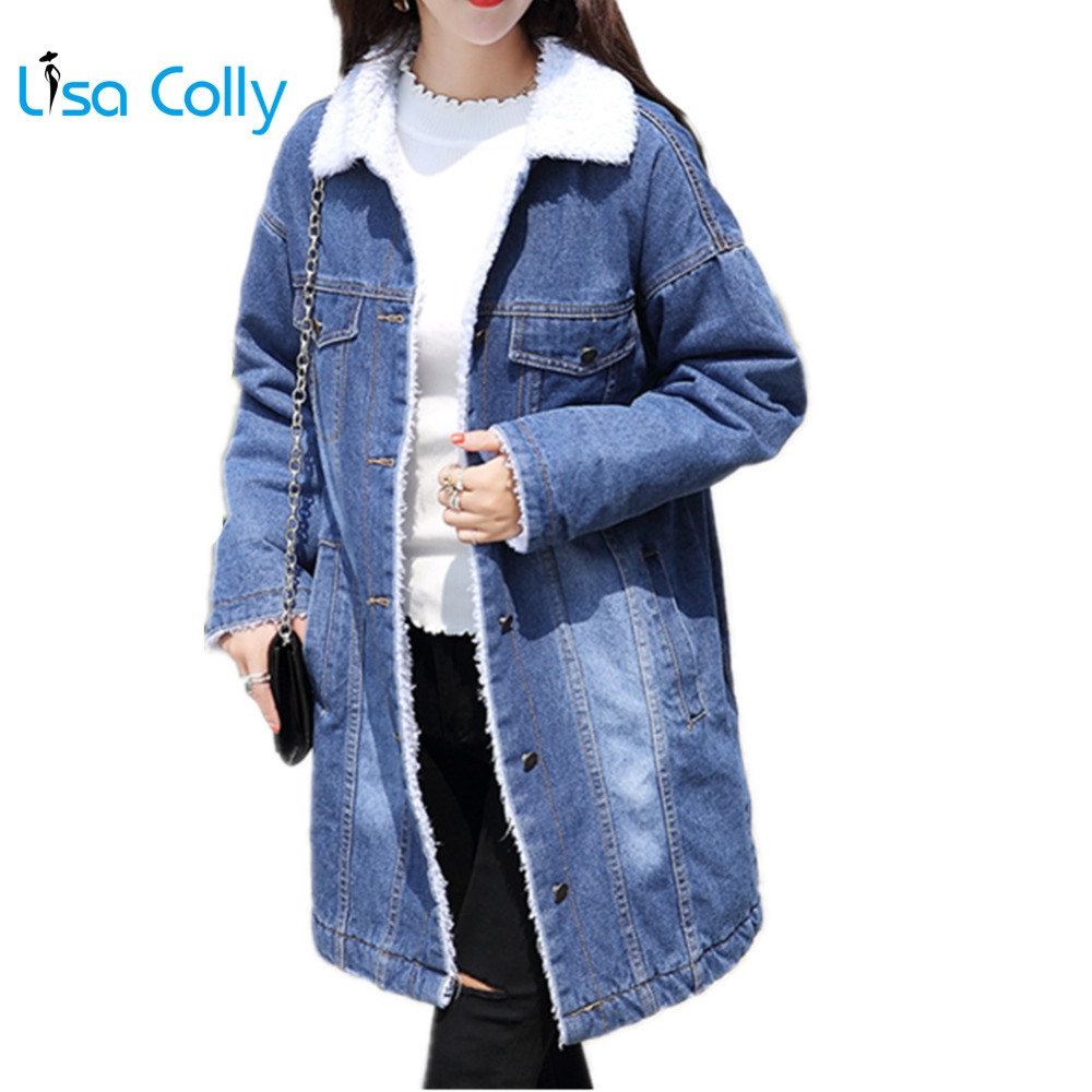 Lisa Colly Fashion Women Winter Coat Outwear Warm Blue Jeans Jacket Women Basic Jacket  long Denim Jacket Thick warm cotton coat