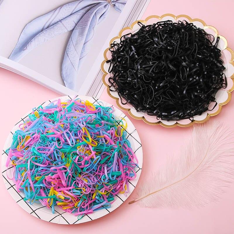 1000PCS / Lot Disposable Gum Children's TPU Rubber Band Ponytail Holder Stretch Hair Band Girls Hair Ring Girls   Headwear