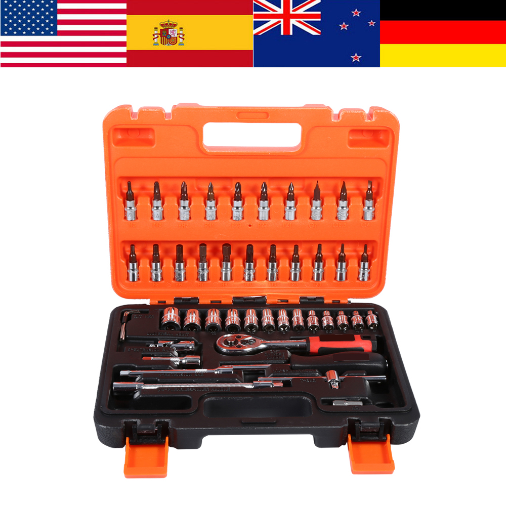 """46pcs/Box Socket Ratchet Sets 1/4"""" Drive Extension Bar Spanner Hex Key Wrenches Woodworking Hand Repair Tool Kit Flexible Handle"""