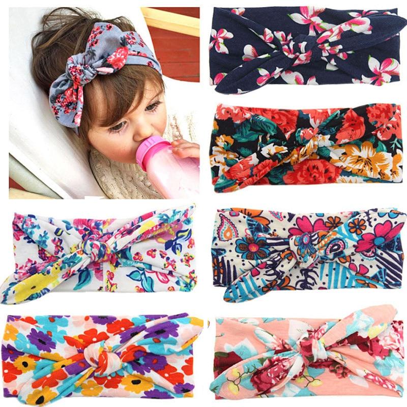 Новинка; цветная повязка на голову для новорожденных в стиле бохо; эластичная лента для волос для малышей; Детская повязка на голову с бантом для девочек