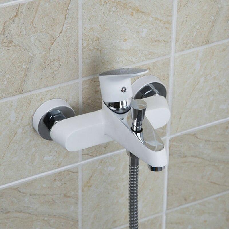 KEMAIDI Branco Pintura de Parede Do Banheiro Montado Chuveiro Spray Com Punho Plástico Do Chuveiro Latão Mixer Torneira Da Banheira Chuveiro Torneira Conjunto - 4