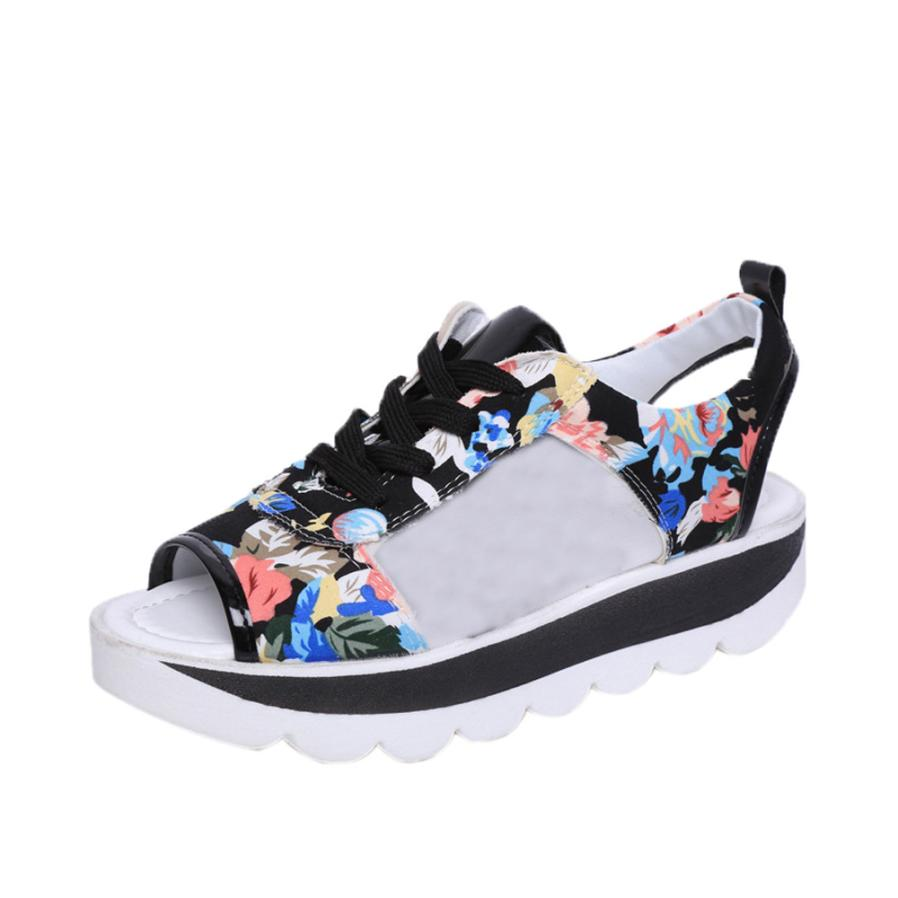 Woman Female Summer Straps High Pattern Fish Mouth Printing Platform Shoes Gladiator Women's Girls Wedges Sandals A8 women sandals 2017 summer shoes woman flips flops gladiator wedges bohemia fashion rivet platform female ladies casual shoes