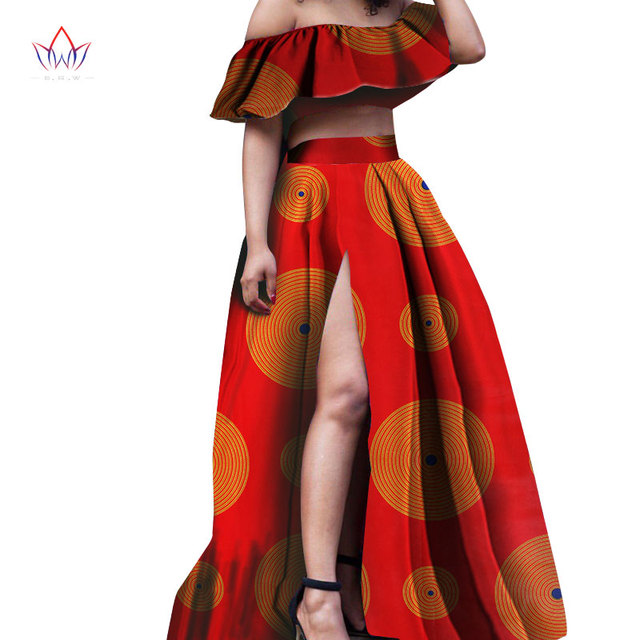 2018 African summer skirt set fashion sexy skirts dashiki bazin plus size  suits for women strapless top slits skirts WY837 f011d696dc14