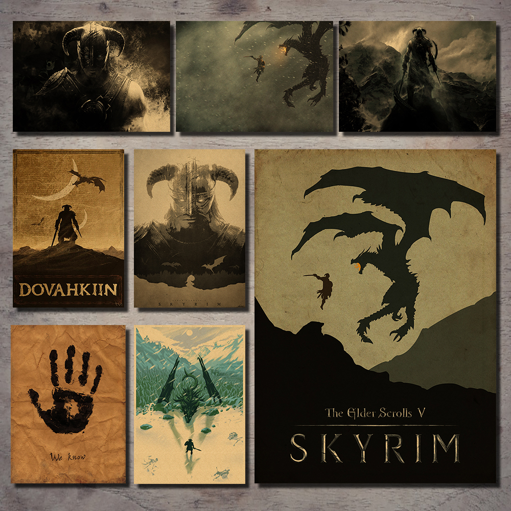 Old Scroll V Skyrim Classic Game Kraft Paper Poster Wall Sticker Bar Cafe Living Room Dining Decoration Wall Sticker