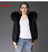 JZAYV Fashion Bomber fur colorful design ladies winter warm fur lined jacket with raccoon hoodie streetwear more color available