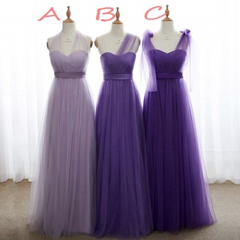 Sweetheart See Sheer Neck Organza Long Bridesmaid Gowns Lavender Purple Soft Tulle Pleated Bridesmaid Dresses Fast Shipping