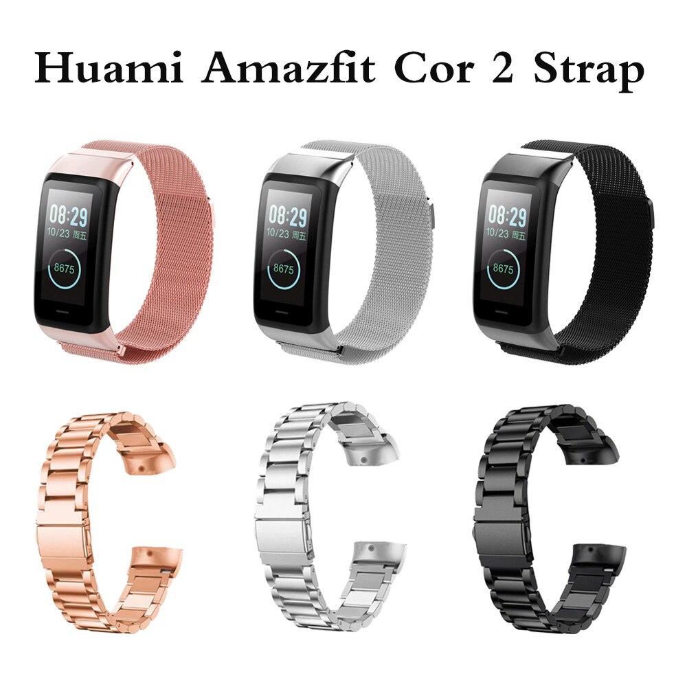 Milanese pulseira de relógio para xiaomi huami amazfit cor 2 náilon magnético metal inoxidável pulseira de relógio para huami amazfit cor 2