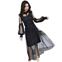 Newest Women Mesh Long Dresses Spring Summer Lace Mesh Sexy Party Dress Female Lantern Sleeve Elegant
