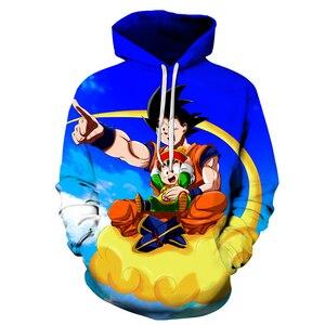 Image 5 - Ilkbahar/yaz yeni erkek hoodie dragon topu baskılı hoodie kazak erkekler uzun kollu rahat hoodie