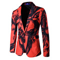 Новый 2017 Осень зима одна кнопка Китайском стиле чернил Printting мужчин пиджак masculino homme дизайн slim fit костюм мужской hombre