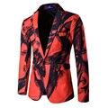 Novo 2017 Outono inverno um botão estilo Chinês tinta Printting homens designs slim fit mens terno blazer masculino homme hombre