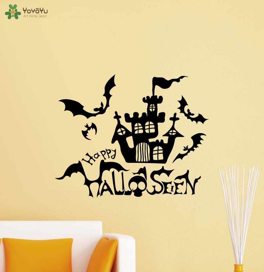 YOYOYU Happy Halloween Wall Decal Bats Castle Pattern Home Decor ...