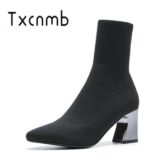 Dégagement TXCNMB mode femmes bottines Kintting cuir automne
