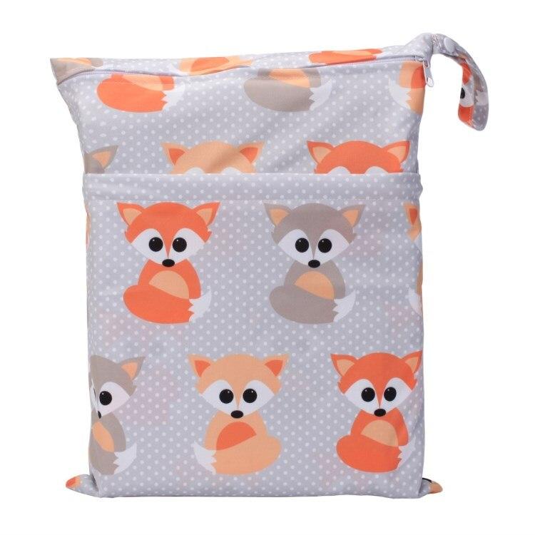 [Sigzagor] 1 Влажная сухая сумка с двумя молниями для детских подгузников, водонепроницаемая сумка для подгузников, розничная и, 36 см x 29 см, на выбор 1000 - Цвет: WH14 baby fox