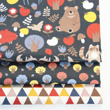 3PCS 50*40cm Cute Bear Cotton Twill Printed Fabric Kids Cloth for DIY Sewing Quilting Material For Baby