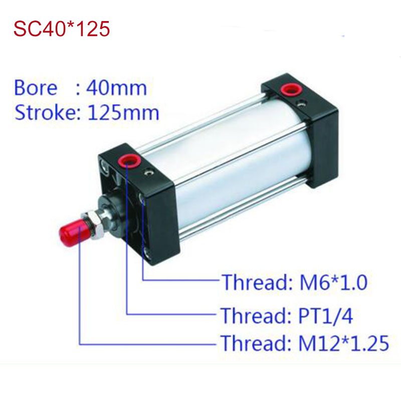 SC40*125 Free shipping Standard air cylinders valve 40mm bore 125mm stroke SC40*125 single rod double acting pneumatic cylinder tn16 125 twin rod air cylinders dual rod pneumatic cylinder 16mm diameter 125mm stroke