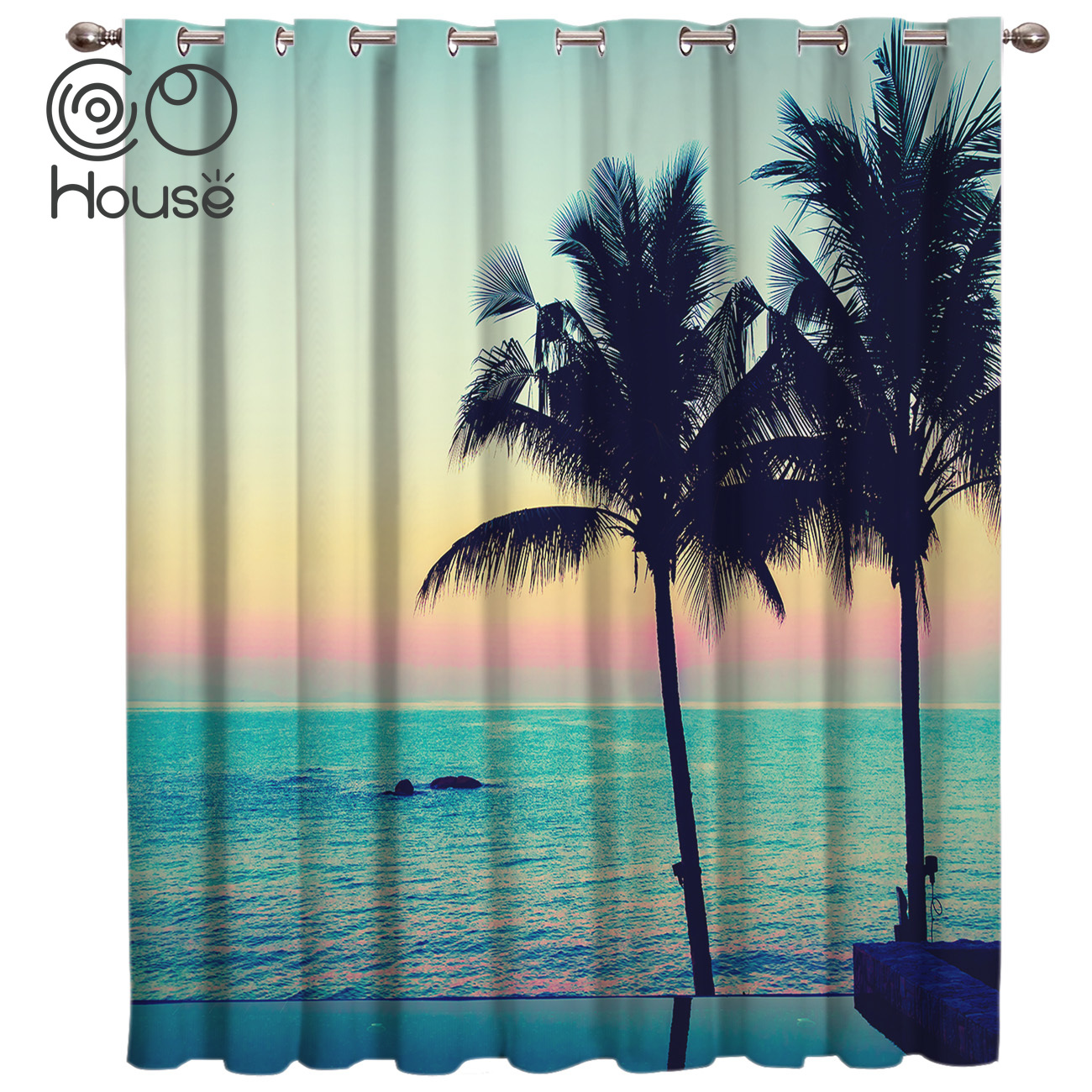 COCOHouse Coconut Tree Beach Blackout Outdoor Kitchen Decor Curtain Panels With Grommets Outdoor Curtains Window Draperies