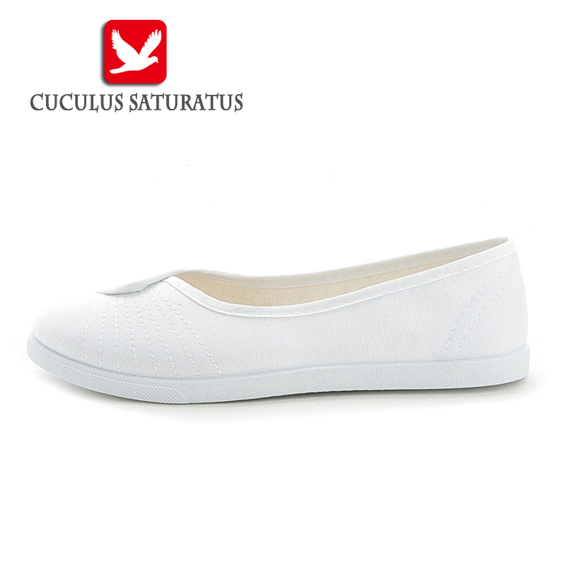 Cuculus Flats Casual Shoes Women Fashion Canvas Lightweight Loafers Female Shoes Woman Durable Rubber Shoes nurse shoes 433 vintage embroidery women flats chinese floral canvas embroidered shoes national old beijing cloth single dance soft flats