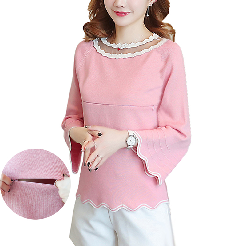 Maternity Nursing Sweater Pullover Breastfeeding Tops for Pregnant Women Flare Sleeve Wave Collar Fashion Knitted Top Pregnancy best of house 4 cd