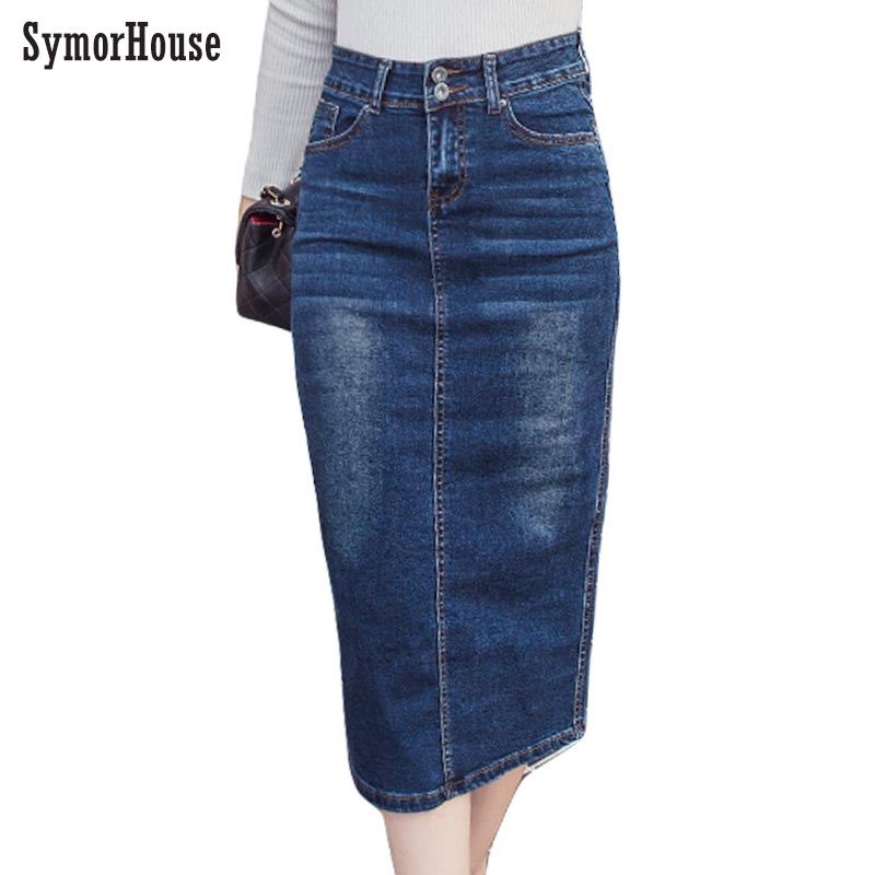 2018 Denim Skirt Vintage Button High Waist Pencil Black Blue Slim Women Skirts Plus Size S-2XL Ladies Office Sexy Jeans Skirts