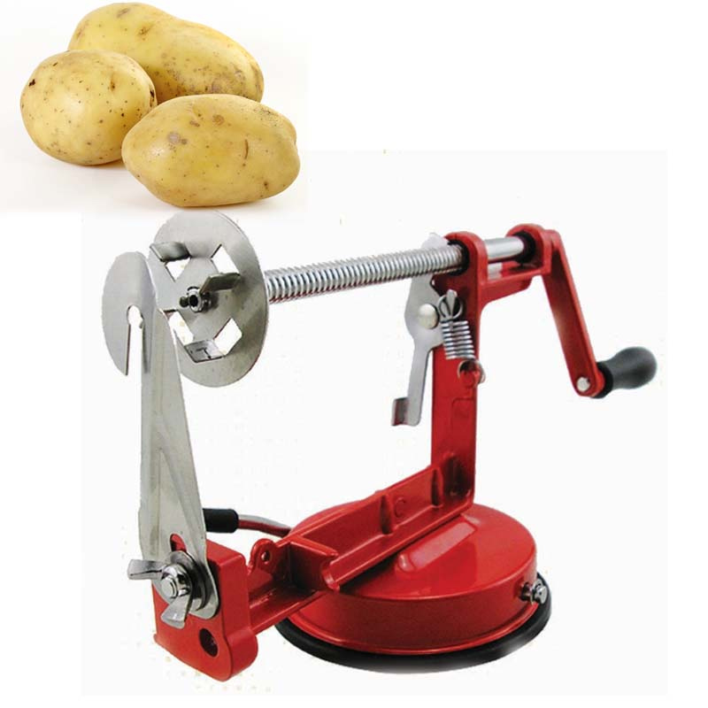 Free Shipping Supreme Quality Manual Red Stainless Steel Twisted Potato Apple Slicer Spiral French Fry Cutter