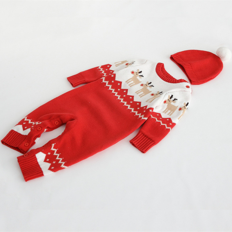 Autumn Winter Baby Hat Romper Suit Knitted Boy Girl Jumpsuit Clothing Layette Newborn Christmas Cotton Kids Clothes Rompers Set