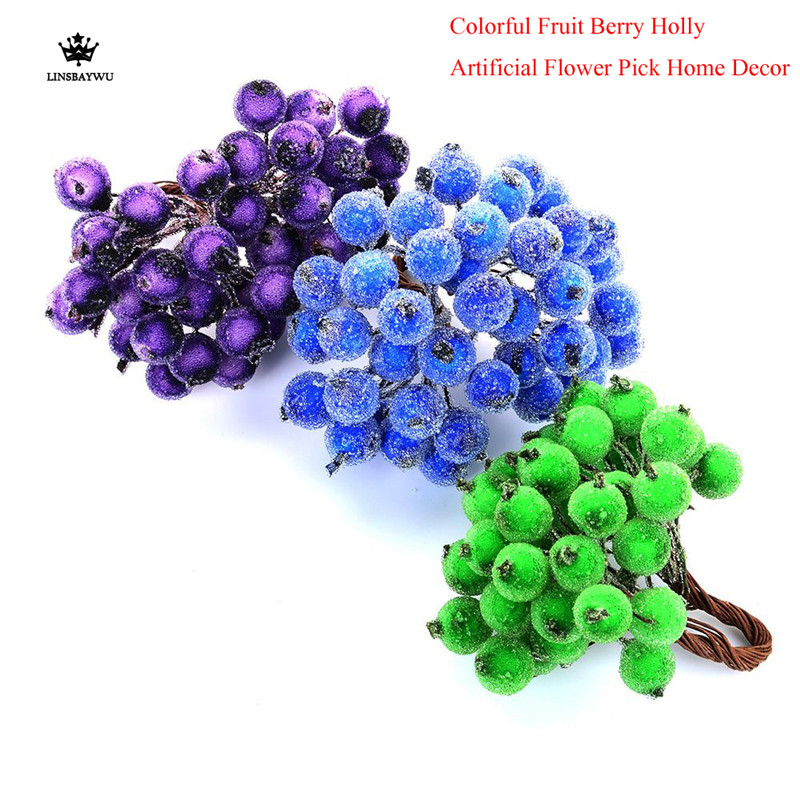40Pcs Decorative Home and Party  Frosted Fruit Berry Holly Artificial Flower DIY Home Garden Decorations Supplies