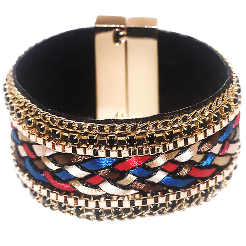 12pcs Wholesale magnetic clasp wrap Bracelets for women,rainbow brazilian braided style bracelet pulseira feminina 2016