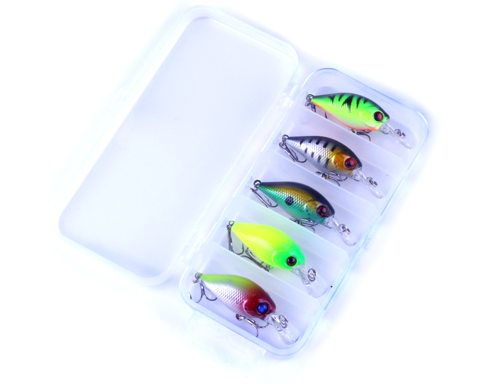 New 5Pcs Fishing Crankbait With Box Fishing Lures Set Crank Fishing Bait Trolling Wobble ...