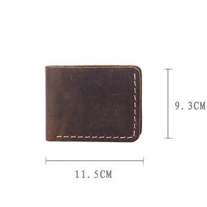 Image 5 - AETOO cartera Retro de cuero puro hecho a mano para hombre, billetera de piel de vaca con capa de cabeza simple, clip para dinero de piel de Caballo Loco