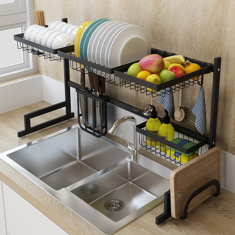 65 85 Cm Black Stainless Steel Kitchen Rack Dish Rack Above Sink Kitchen Cupboard Organisers Racks Holders Aliexpress