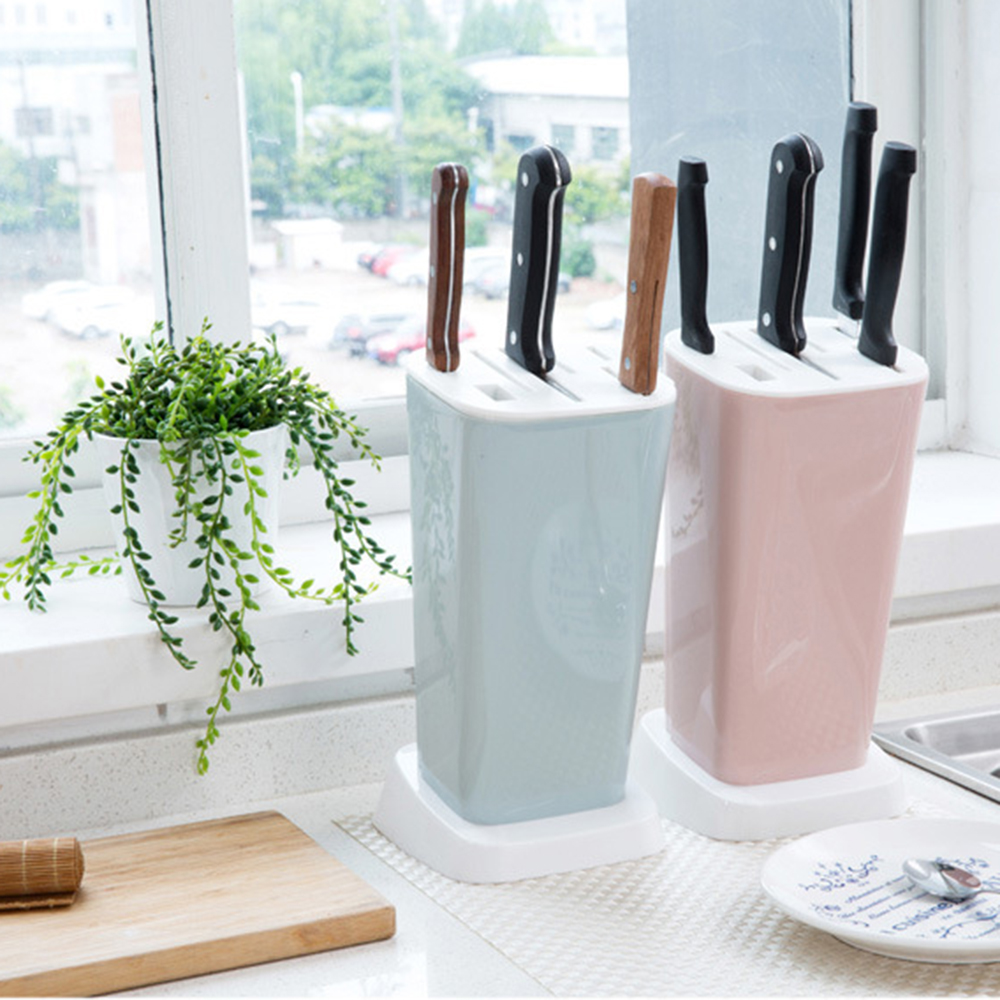 2019 New Knife Block Kitchen Multifunction Plastic Knife Storage Rack Block Holder Stand Mount Stands For Knives Easy To Clean