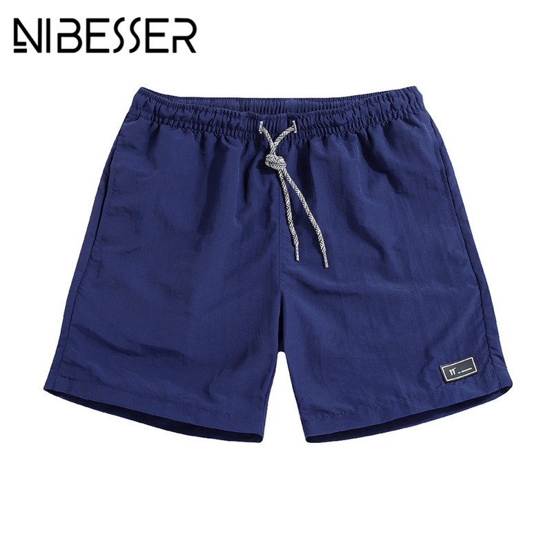 NIBESSER 2018 Mens Knee Length Quick Drying Jogger Board Shorts Casual Men Breathable Shorts Male Elastic Waist Beach Shorts
