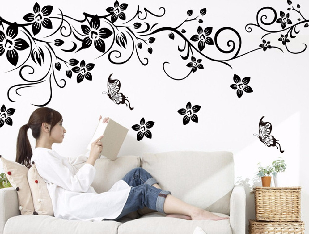 Hot diy wall art decal decoration fashion romantic flower vine wall sticker tv background wall stickers home decor 3d wallpaper in wall stickers from home